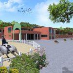 LA FARNESINA - Vista prospettica: Render Club house maneggio outdoor